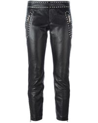 DSquared² | Black Studded Leather Trousers | Lyst