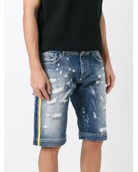 Philipp Plein - Blue Distressed Denim Shorts for Men - Lyst