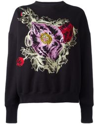 Alexander McQueen - Black Embroidered Flower Sweatshirt - Lyst