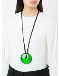 Monies - Green Disc Pendant Necklace - Lyst