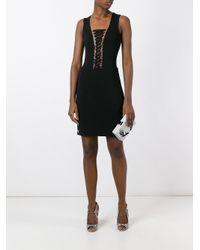 Philipp Plein Black Lace-up Mini Dress