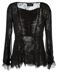 The Kooples | Black Lace-up Lace Blouse | Lyst