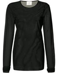 Just Female - Black Longsleeved Sheer T-shirt - Lyst