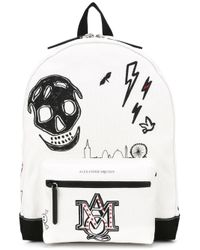 Alexander McQueen - White Printed Canvas Backpack for Men - Lyst