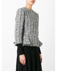Alexander McQueen | Black Peplum Hem Tweed Jacket | Lyst