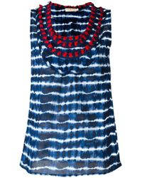 Tory Burch   Blue Embellished Neck Striped Tank   Lyst