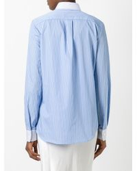 Maison Margiela - Blue Contrast Pinstripe Shirt - Lyst