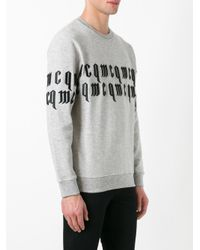 McQ - Gray Embroidered Sweatshirt for Men - Lyst
