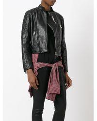 DSquared² - Black Check Cape Biker Jacket - Lyst