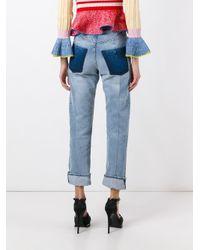 Alexander McQueen - Blue Turn Up Boyfriend Jeans - Lyst