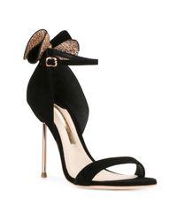 Sophia Webster Black Glitter Embellished Sandals