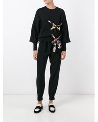 MSGM - Black Lace-up Detail Sweatshirt - Lyst