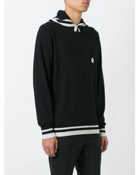 Dolce & Gabbana Black Contrast Stripe Logo Hoodie for men