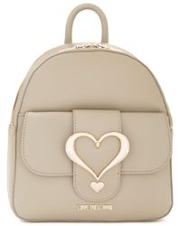 Love Moschino   Gray Logo Plaque Backpack   Lyst