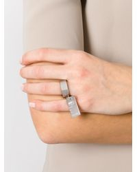 MM6 by Maison Martin Margiela | Metallic Plate Ring | Lyst