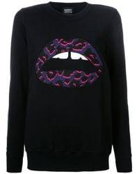 Markus Lupfer | Black Applique Lips Sweatshirt | Lyst