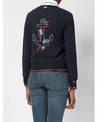 Thom Browne | Blue Embroidered Anchor Cardigan | Lyst