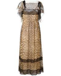 RED Valentino | Red - Leopard Print Maxi Dress - Women - Silk/polyamide/polyester - 42 | Lyst