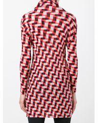 Pleats Please Issey Miyake - Red Geometric Print Long Blouse - Lyst