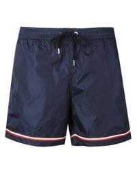 Moncler - Blue Striped Trim Swimming Trunks for Men - Lyst