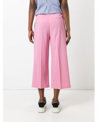 MSGM Pink Wide Leg Cropped Trousers