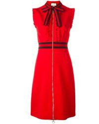 Gucci Red Web Trim Sleeveless Ruffled Dress