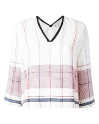 Forte Forte | White V-neck Plaid Blouse | Lyst