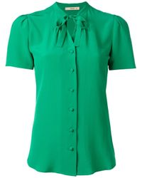 Etro | Green Tied Neck Buttoned Blouse | Lyst