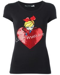 Love Moschino | Black Sequin Embellished T-shirt | Lyst