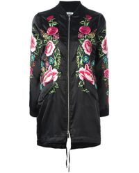 P.A.R.O.S.H. | Black - Floral Embroidered Long Bomber Jacket - Women - Polyester - L | Lyst