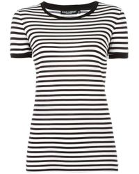 Dolce & Gabbana   Black Striped T-shirt   Lyst