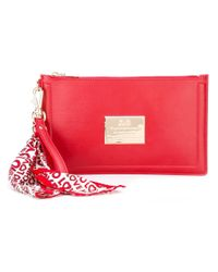 Love Moschino | Red Scarf Detail Clutch | Lyst
