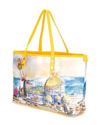 Love Moschino - Yellow Landscape Print Tote - Lyst