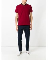 Gucci Red Web Collar Polo Shirt for men