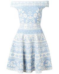 Alexander McQueen | Blue Floral Jacquard Mini Dress | Lyst