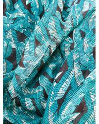 Valentino - Blue Garavani Leaf Print Scarf for Men - Lyst