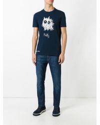 Aspesi Blue 'fluffy' Print T-shirt for men