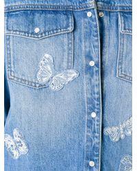 Valentino - Blue Butterfly Appliqué Denim Jacket - Lyst