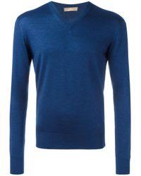 Cruciani | Blue V Neck Jumper for Men | Lyst