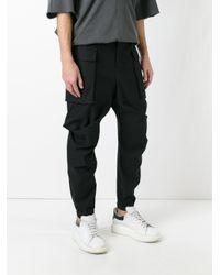 Moohong Gray Draped Track Pants for men
