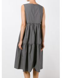 ODEEH | Gray Shift Ruffled Dress | Lyst