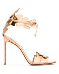 Francesco Russo Metallic Leaves Motif Sandals