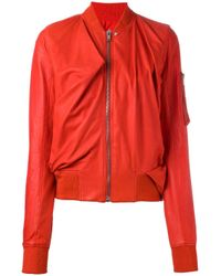 Rick Owens | Red Swoop Bomber Jacket | Lyst