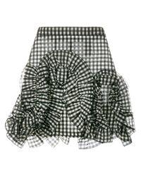 MSGM | Black Gingham Ruffle Mini Skirt | Lyst