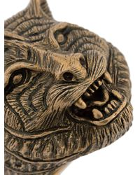 Gucci - Gray Feline Motif Ring for Men - Lyst