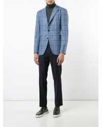 Isaia Blue Checked Blazer for men