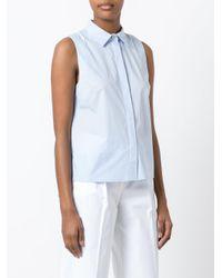 P.A.R.O.S.H. - Blue Sleeveless Boxy Shirt - Lyst
