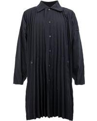 Homme Plissé Issey Miyake Black Pleated Midi Coat for men