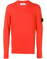 Stone Island Red Logo Patch Jumper for men