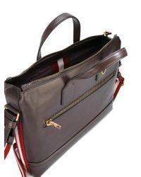 Bally Brown Striped Strap Laptop Bag for men